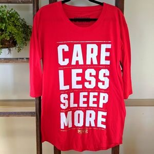 CARE LESS, SLEEP MORE sleepshirt nightgown VS PINK